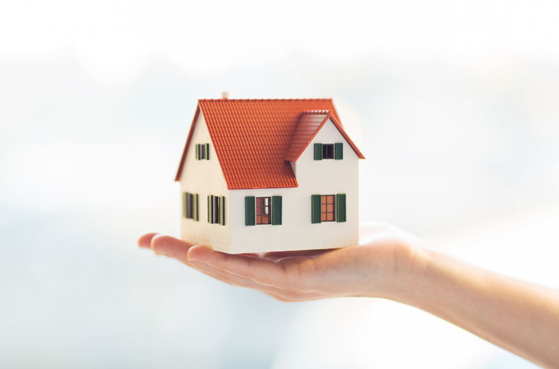 person holding a figure of a house in their hand